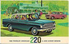 1963 Rambler American 220 4 and 2-Door Sedans Automobile Advertising Postcard