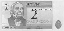 Estonia 2 Krooni 2007 Prefix CJ  Uncirculated Banknote , G. 1B