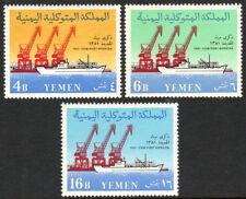Yemen 110-112, MNH. Opening of port at Hodeida. Cranes and Ship, 1961