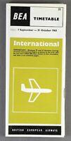 BEA BRITISH EUROPEAN AIRWAYS INTERNATIONAL AIRLINE TIMETABLE SUMMER 1963 NO.22