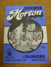 21/08/1982 Greenock Morton v Dundee [Scottish League Cup] . Item appears to be i