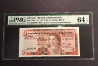 PMG Graded Gibraltar/ British Administration 1 Pound Banknote 1975 Pic20a