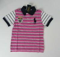 NWT Ralph Lauren SS Big Pony Pink Stripe Mesh Polo Shirt 8 10/12 14/16 18/20 NEW