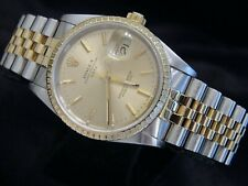Mens Rolex Date 18K Gold Stainless Steel Watch Jubilee Band Champagne Dial 15223