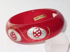 Vintage Lucite Bracelet Bangle red moonglow glitter carved design rhinestone