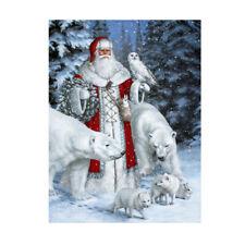 Christmas Santa Claus Animal Snow Scene 5D Diamond DIY Painting Craft Kit Decor