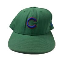 VTG New Era Pro Model Chicago Cubs Snapback Hat Cap USA Green With Blue Logo