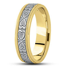 Wedding Band Ring 6.5mm Wide Size 7 New Ladies 14k Two-Tone Gold Heart Design
