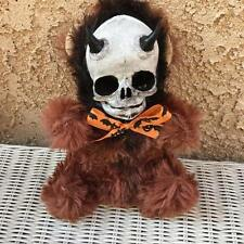 Devil horns Skull Brown Plush Halloween Bow Horror Prop Doll ChristieCreepydoll