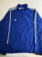 Adidas Climaproof Pullover 1/4 Zip Mens Size XL Blue Jacket Side Zip Vintage