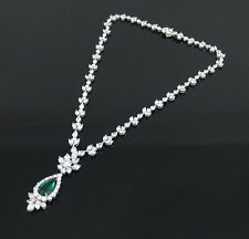 4.08ct Old Mine Colombian Emerald & 24.26ct Diamond Platinum Necklace GRS Cert