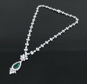4.08ct Old Mine Colombian Emerald & 24.26ct Diamond Platinum Necklace GRS Cert