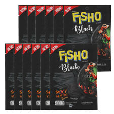 12Pcs FISHO BLACK Spicy Seafood Flavored Fish Snack Party Low Fat Halal Food 25g