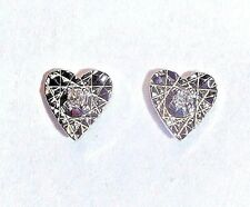 14K White Gold and Diamond Heart Stud Earrings | NEW