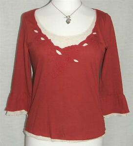 NEW Ex PER UNA RED EMBROIDERED MOCK-LAYER 3/4 SLEEVE TOP SIZES UK 10 & 18
