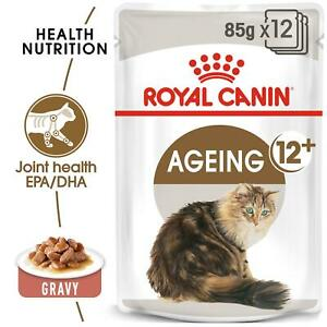 Royal Canin Ageing 12 + Years In Gravy - Wet Cat Food - Healthy Joints - 12 Pack