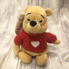 1999 The Disney Store Winnie the Pooh RED Sweater Heart Mini Bean Bag-Beanie NEW