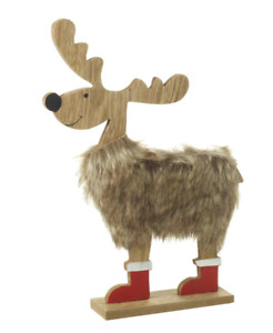 Wooden Deer With Faux Fur And Boots
