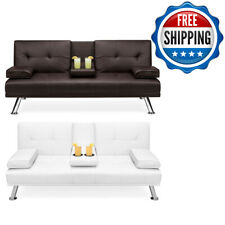 Modern Leather Convertible Futon Sofa Bed Recliner Couch w/Metal Legs Brand New