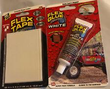 NEW Flex Tape MINIS (2) WHITE 4x3in STOPS LEAKS & FLEX GLUE Strong RUBBERIZED Wa