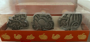 NIB WILLIAMS SONOMA Heirloom Autumn Piecrust Cutters Pumpkin Leaves Turkey