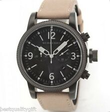 NEW-BURBERRY ENDURANCE TAN,BROWN LEATHER+BLACK CHRONO DIAL SWISS WATCH BU7809