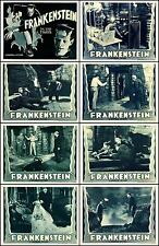 FRANKENSTEIN  BORIS KARLOFF COMPLETE SET OF 8 INDIVIDUAL LOBBY CARD PRINTS R-38