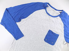 2(X)IST $70 MEN'S Gray Long Sleeve Raglan TOP Shirt SIZE S BLUE MODAL SALE D26