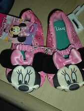 NWT DISNEY MINNIE MOUSE TODDLER GIRLS SLIPPERS PINK W/ WHITE DAISY L 9/10