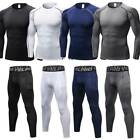Mens Compression Thermal Base Layer Shirt Tops Pants Leggings Long Gym Quick Dry