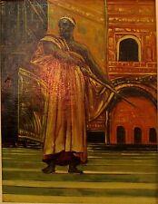 Soldat maure, Huile sur toile marouflée sur panneau bois, peinture XXè