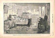 Mort de Léon Gambetta Chambre mortuaire FRANCE GRAVURE ANTIQUE PRINT 1883