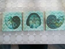 """Set of 3 Teal Aqua Green Blue 12"""" x 12"""" Seashell Wall Hanging Pictures Canvas"""