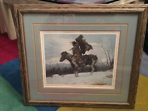 """Howard Terpning  """"The Signal"""" Signed Lithograph"""