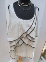 Tasha Polizzi TP Saddleblanket Ivory Grey Cotton Ruffle Layered Tank Top XL