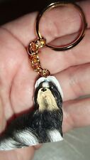 Rare New Dog Statue Key Chain Shih Tzu Christmas Great Gift Item Long Hair L@K