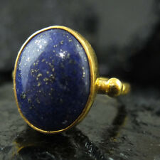 Handmade Hammered Designer Oval Lapis Ring Yellow Gold over 925 Sterling Silver
