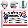 Vespa adesivi casco pvc nero italia flag sticker black helmet cropped 11 pz.