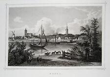 Wesel Gesamtansicht Niederrhein echter alter seltener Stahlstich 1850
