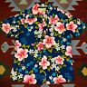Vintage 60s Ui-Maikai Hawaiian Shirt Barkcloth Blue Floral Hibiscus Aloha Large