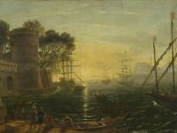 STUDENT CLAUDE LORRAIN HARBOR SUNSET 17TH CENTURY OLD ART PAINTING PRINT BB6388A