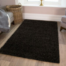 Jet Black Shaggy Rug Soft Warm Thick Easy Clean Plain Living Room Shaggy Rugs