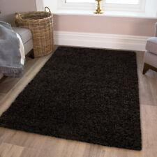 Jet Black Shaggy Rug Soft Warm Thick Easy Clean Plain Living Room Shaggy Rugs