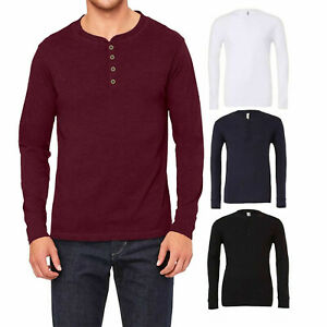Mens New Long Sleeve Summer Winter Front Button Slim Fit Cotton T Shirt Top