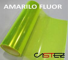 2 x VINILO PEGATINA LAMINA TINTAR FAROS COLOR AMARILLO FLUORESCENTE 30 X 20 cm