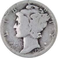 1919 Mercury Dime 90% Silver 10c US Coin Collectible