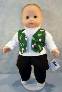 "15"" Boy Doll Clothes Snowmen on Green Vest Pants Turtleneck by Jane Ellen"