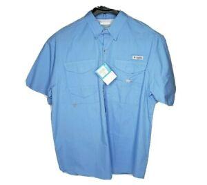 Columbia Mens Size Large PFG Blue, Short Sleeve, Vented, Fishing Shirt