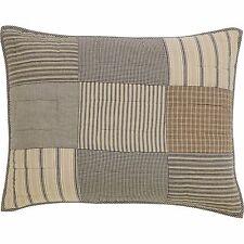 SAWYER MILL Standard Sham Patchwork Farmhouse Grey/Creme/Black Stripe 21x27