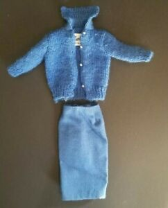 VINTAGE BARBIE BLUE SWEATER GIRL OUTFIT Skirt #957 1963 Knitting Pretty